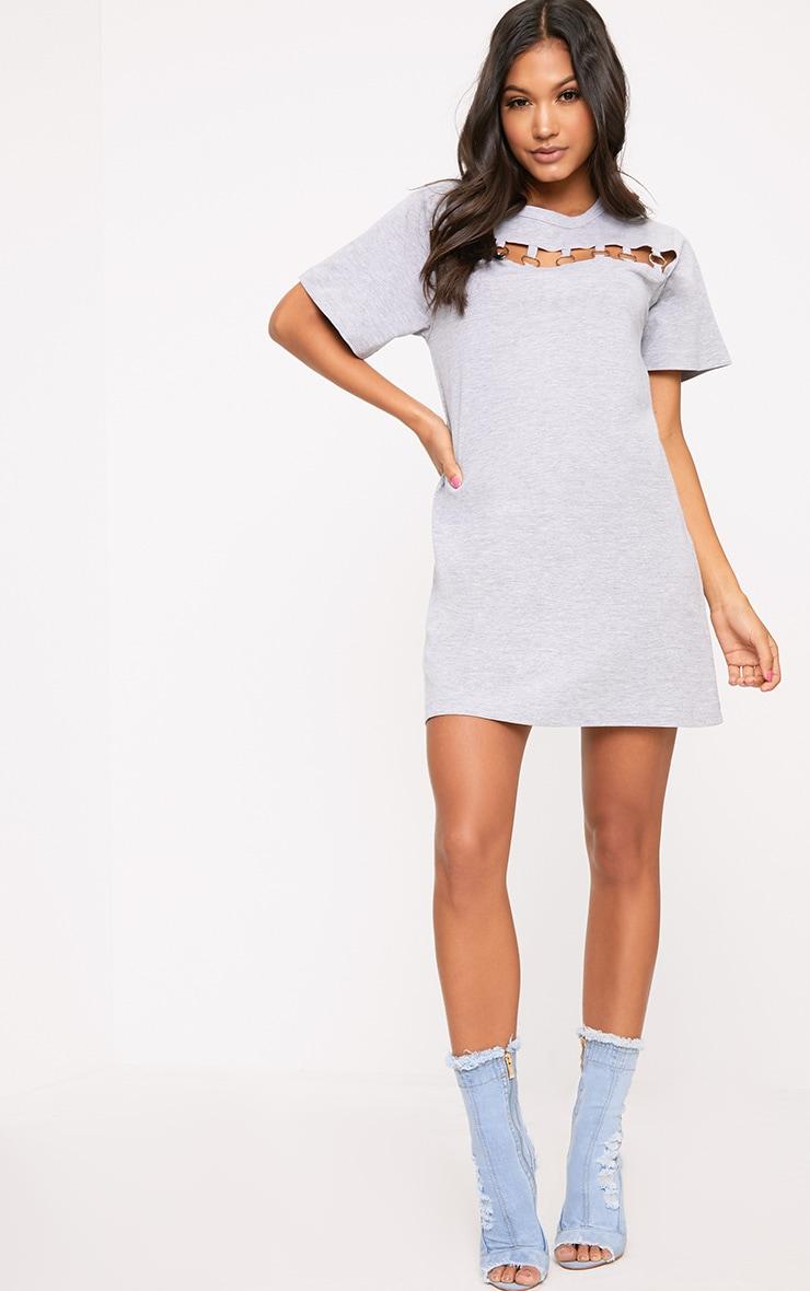 Grey Jersey Ring Chest Detail T Shirt Dress  1