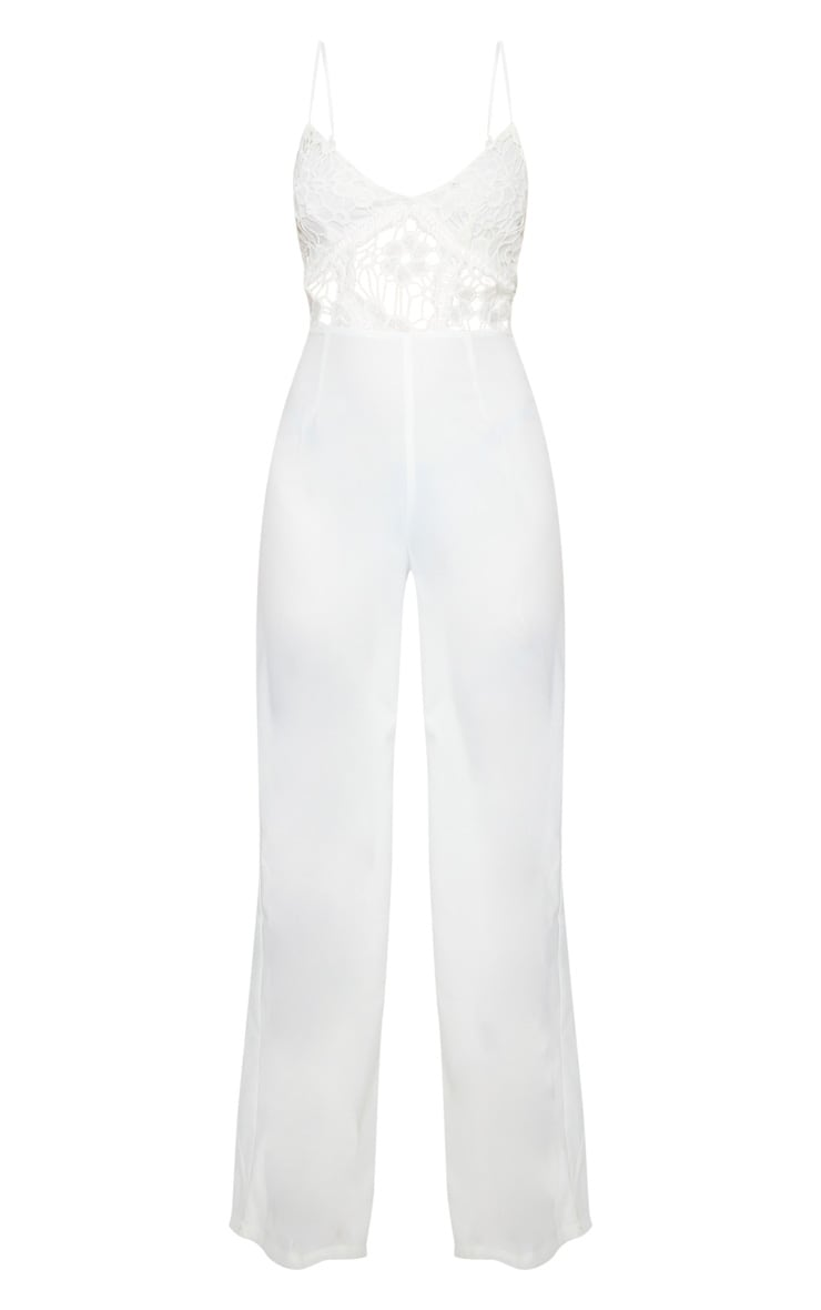 Cream Strappy Lace Cut Out Wide Leg Jumpsuit 5