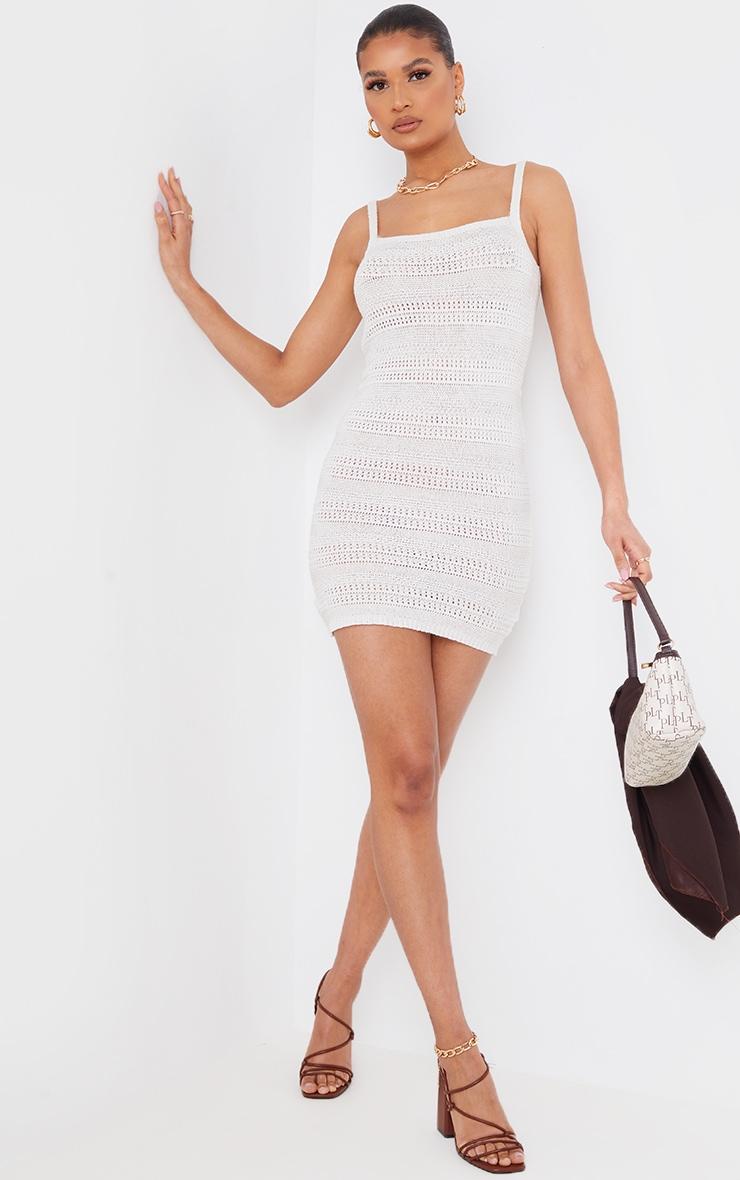 Cream Crochet Knitted Mini Dress 3