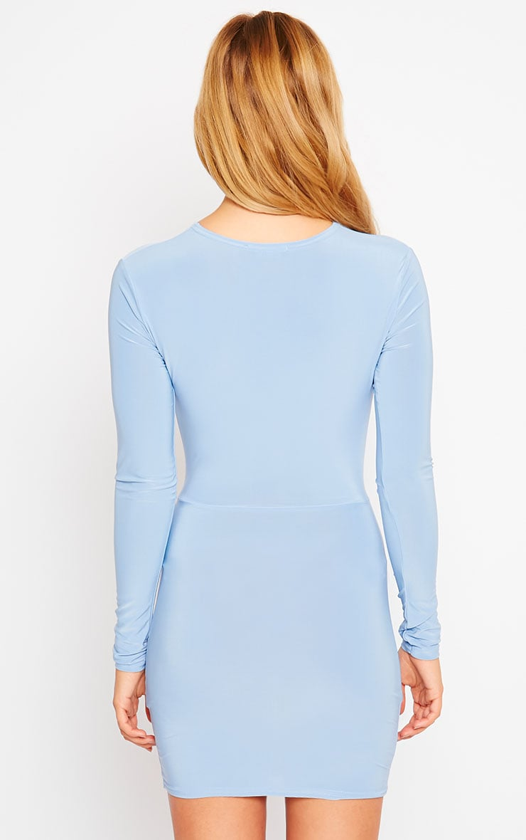 Zafia Powder Blue Long Sleeve Mini Dress 2