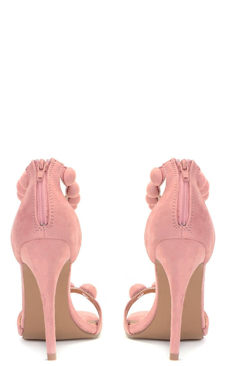Una Pink Suede Studded Strappy Heeled Sandal 3