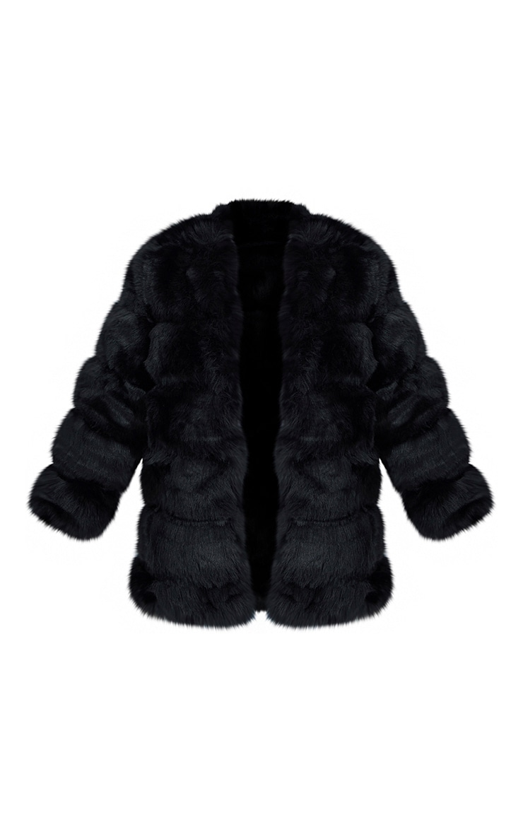 Petite Black Faux Fur Bubble Coat 5