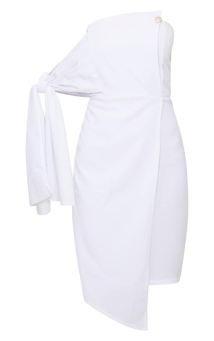 White Tie Detail Wrap Front Bandeau Midi Dress 3