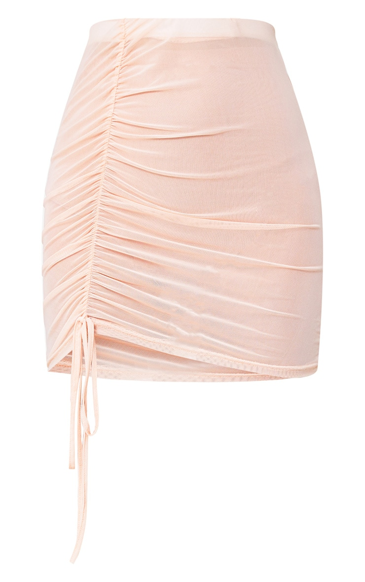 Nude Side Ruche Mesh Mini Skirt 3