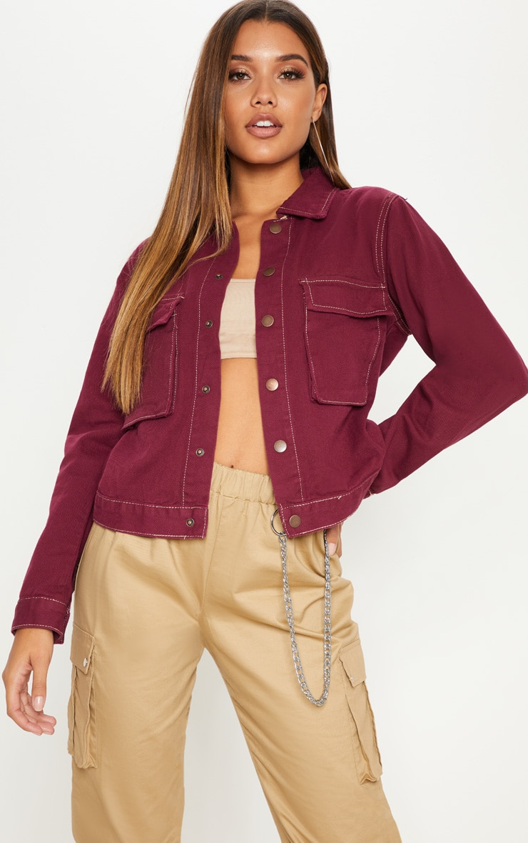 Burgundy Contrast Stitch Trucker Pocket Jacket 4