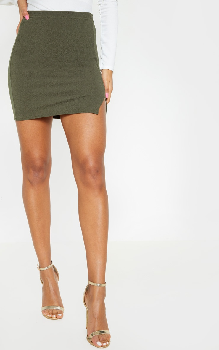 Jemmia Khaki Split Mini Skirt  2