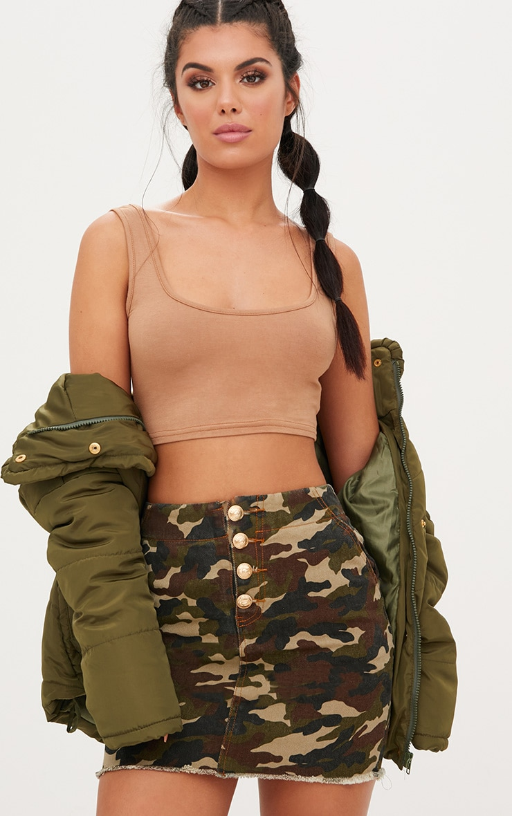 Khaki Camouflage Denim Mini Skirt 1