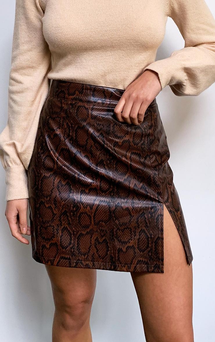 Brown Snake Faux Leather Split Front Mini Skirt 2