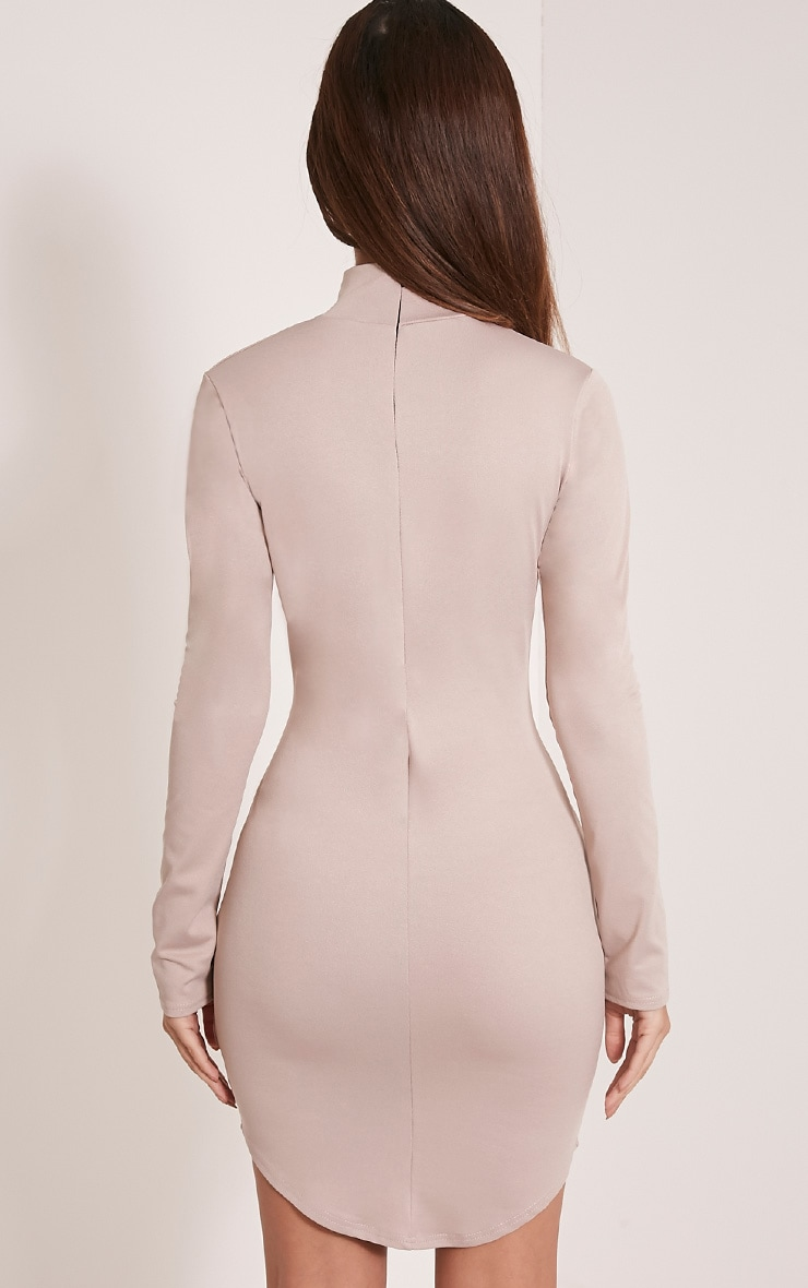 Arianna Taupe Crepe Choker Detail Bodycon Dress 2