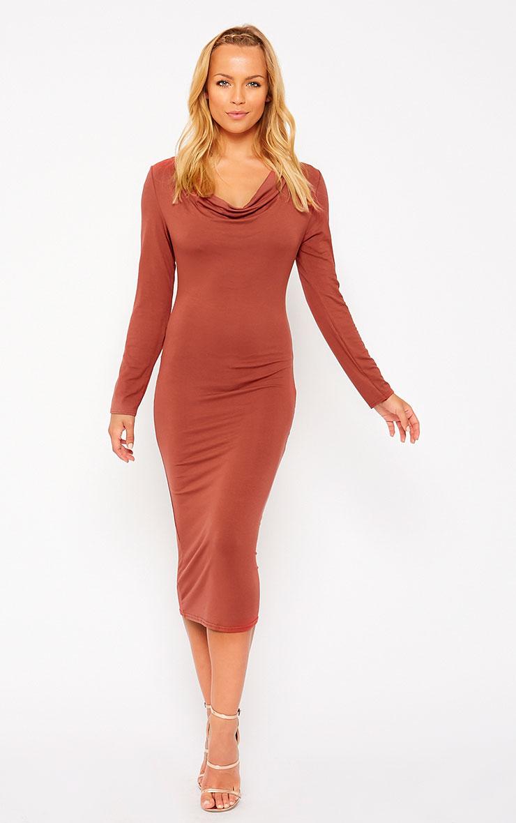 Lise Rust Jersey Cowl Neck Midi Dress 1