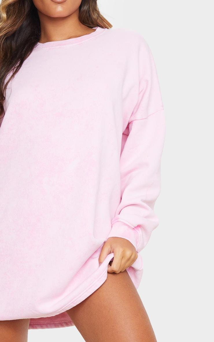 Pink Acid Wash Oversized Sweater Dress 4