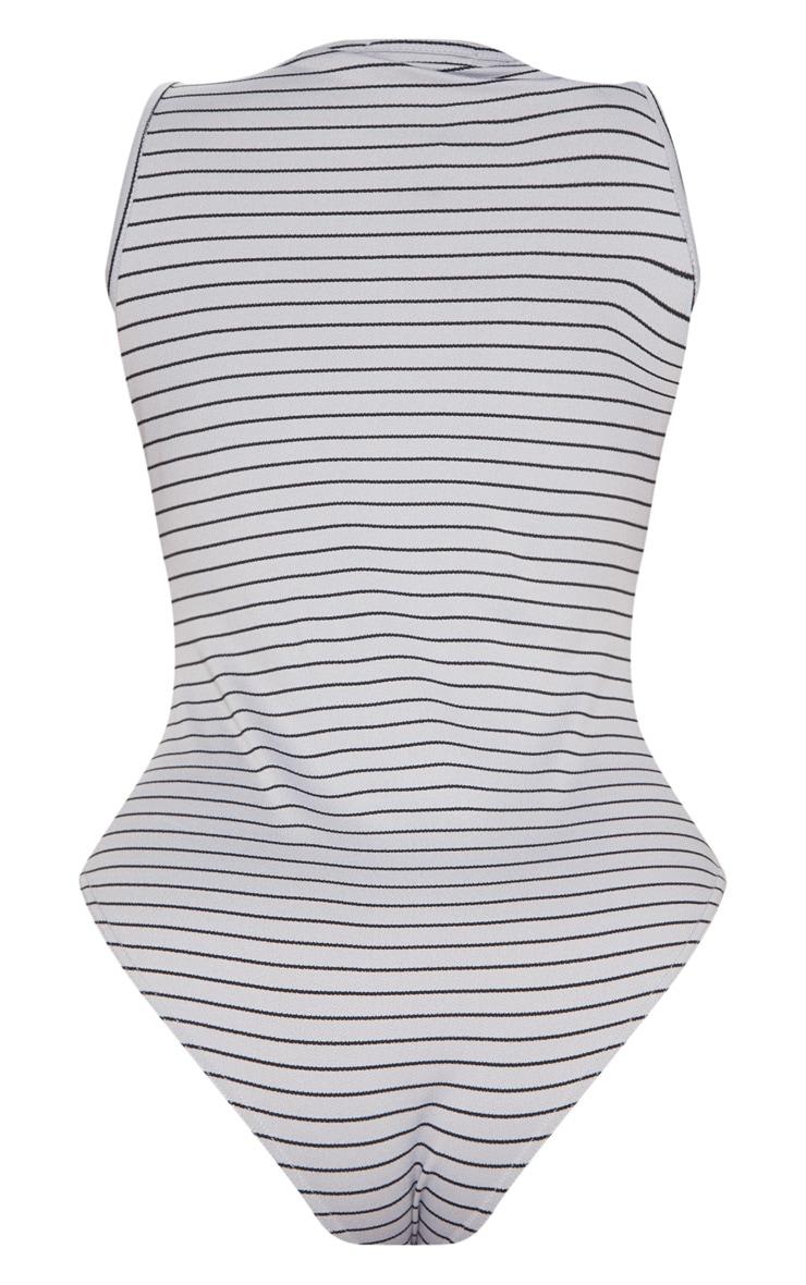 Plus Grey Ring Pull Stripe Thong Bodysuit 4