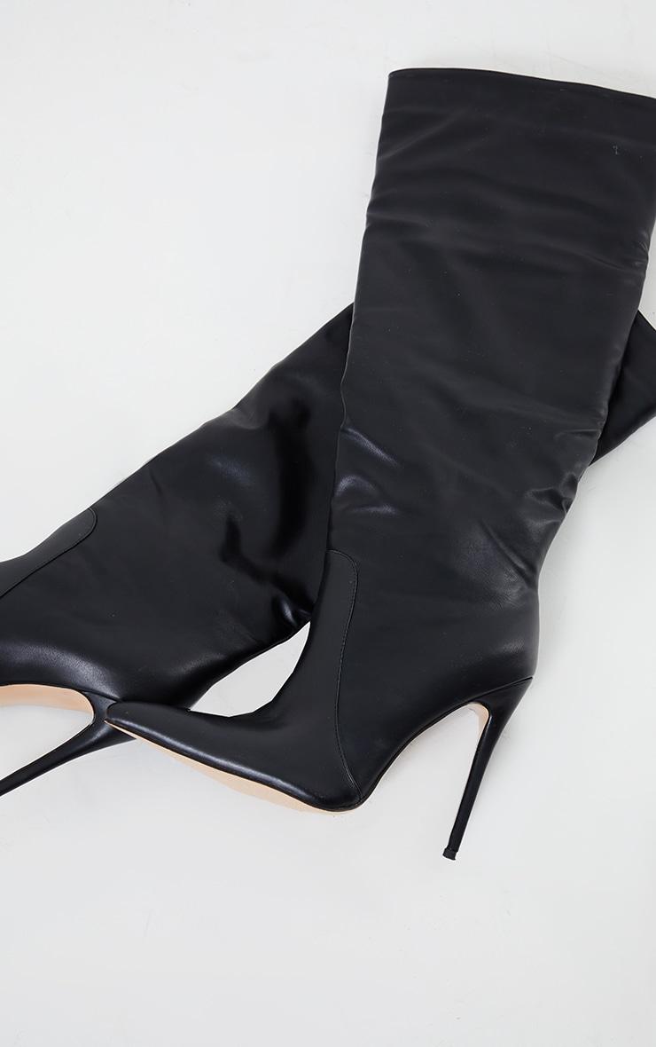 Black Matte PU Calf Stiletto Heeled Boots 4