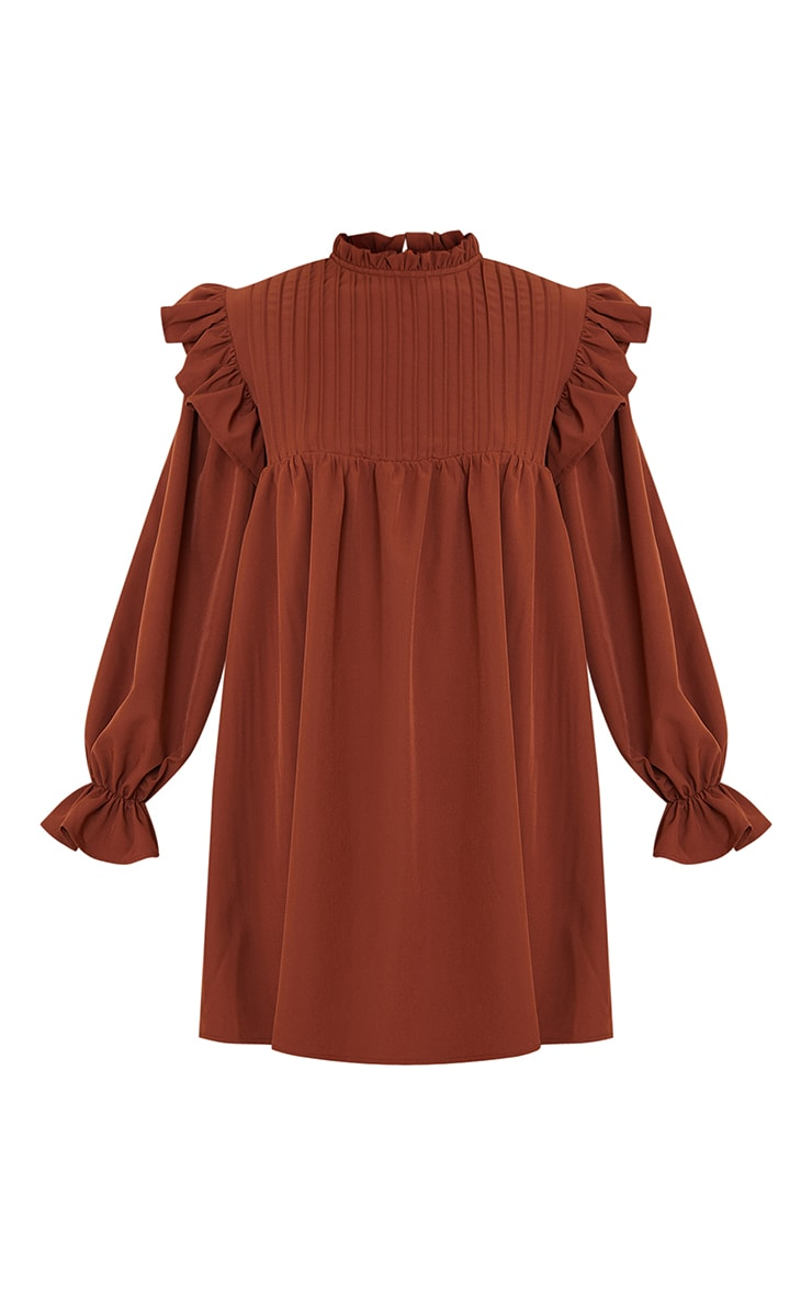 Chocolate Ruffle Binding Detail Shirt Dress 5