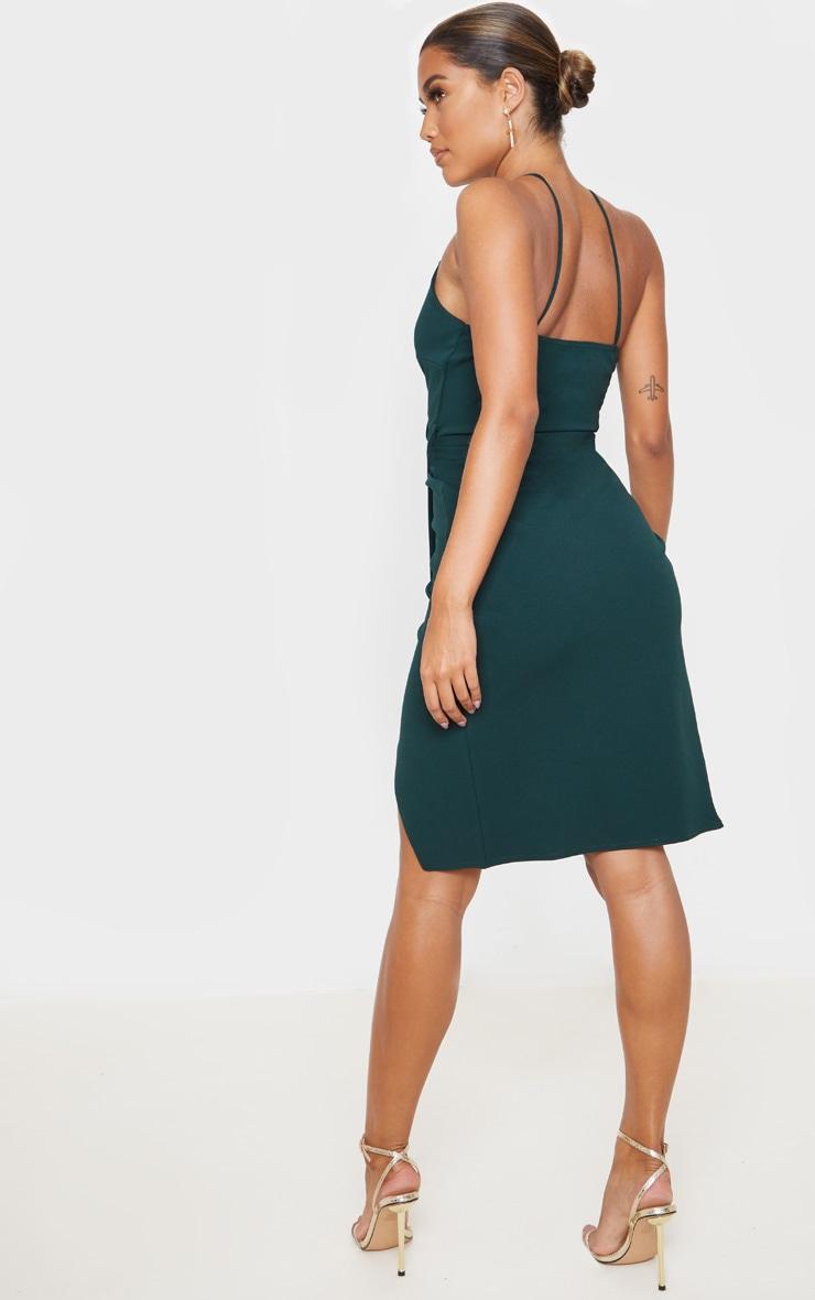Emerald Green Strappy Wrap Tie Waist Midi Dress 2