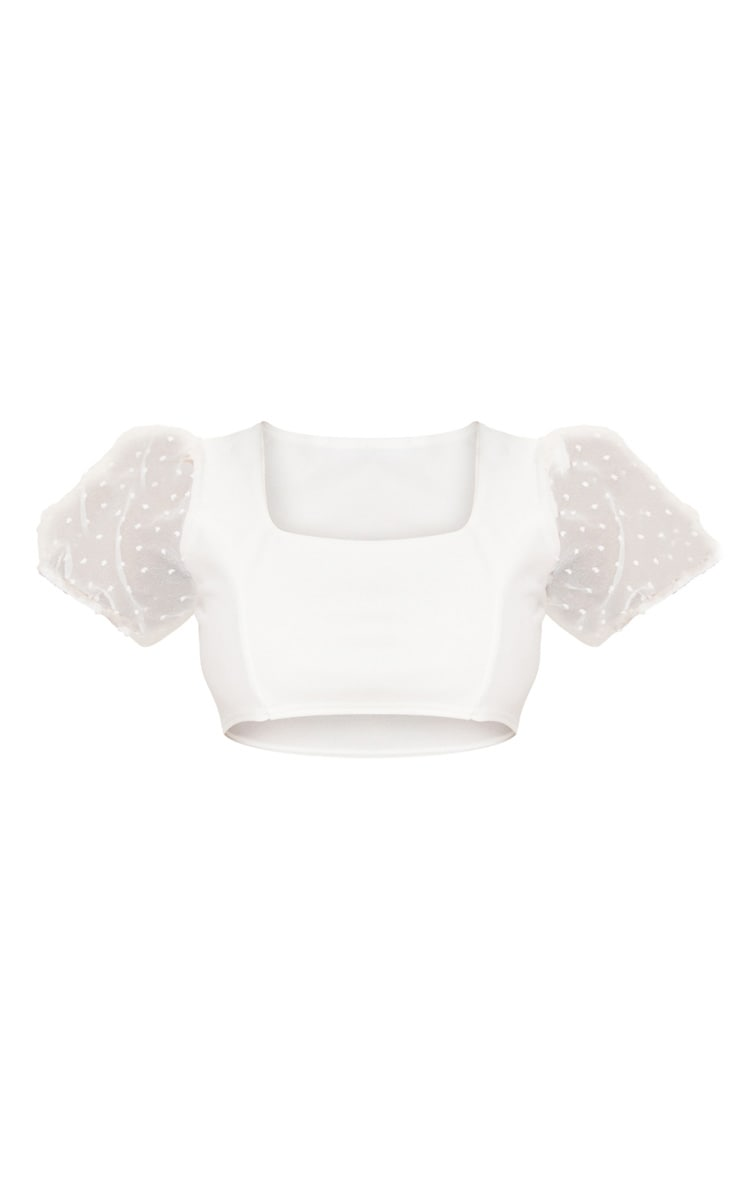 Petite Cream Organza Puff Sleeve Crop Top 6