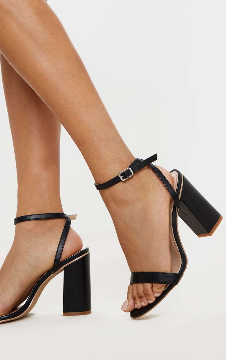 Black Wide Fit Block Heel Strappy Sandal 2