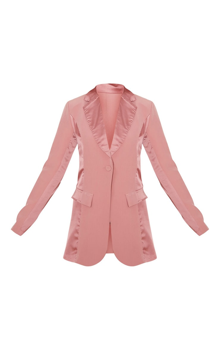 Blush Satin Contrast Fitted Longline Blazer 3