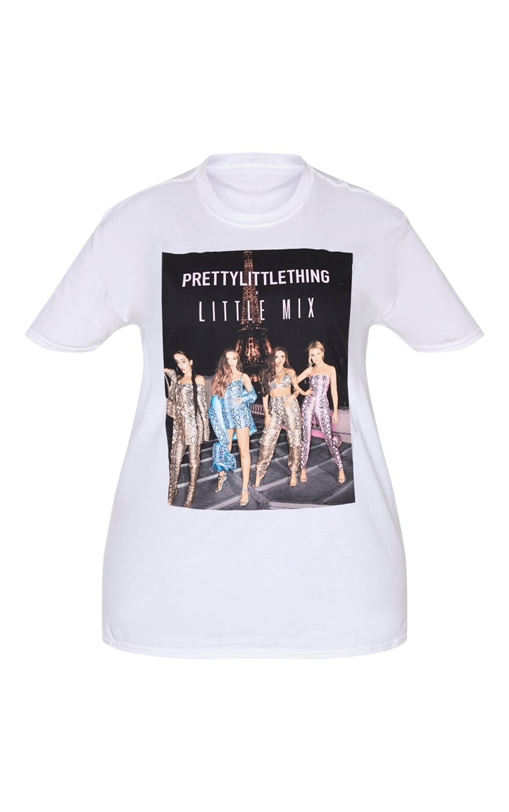 PRETTYLITTLETHING X Little Mix White Oversized T Shirt 3