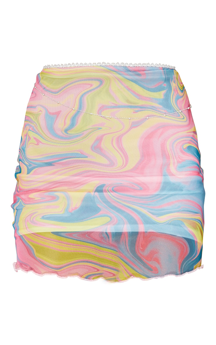 Multi Abstract Printed Sheer Mesh Mini Skirt 6