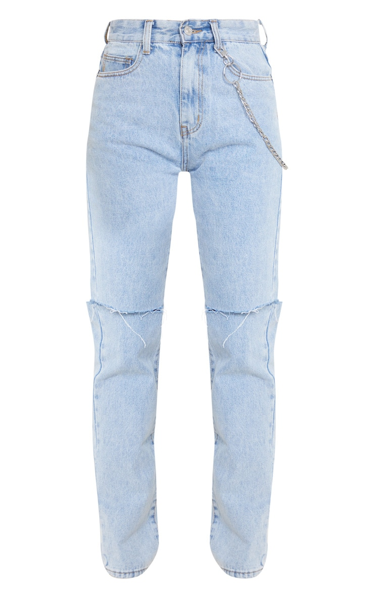 Light Blue Wash Slash Knee Long Leg Straight Leg Jean 3