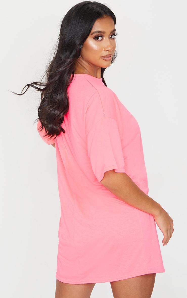 Petite Neon Pink Oversized T Shirt Dress 2