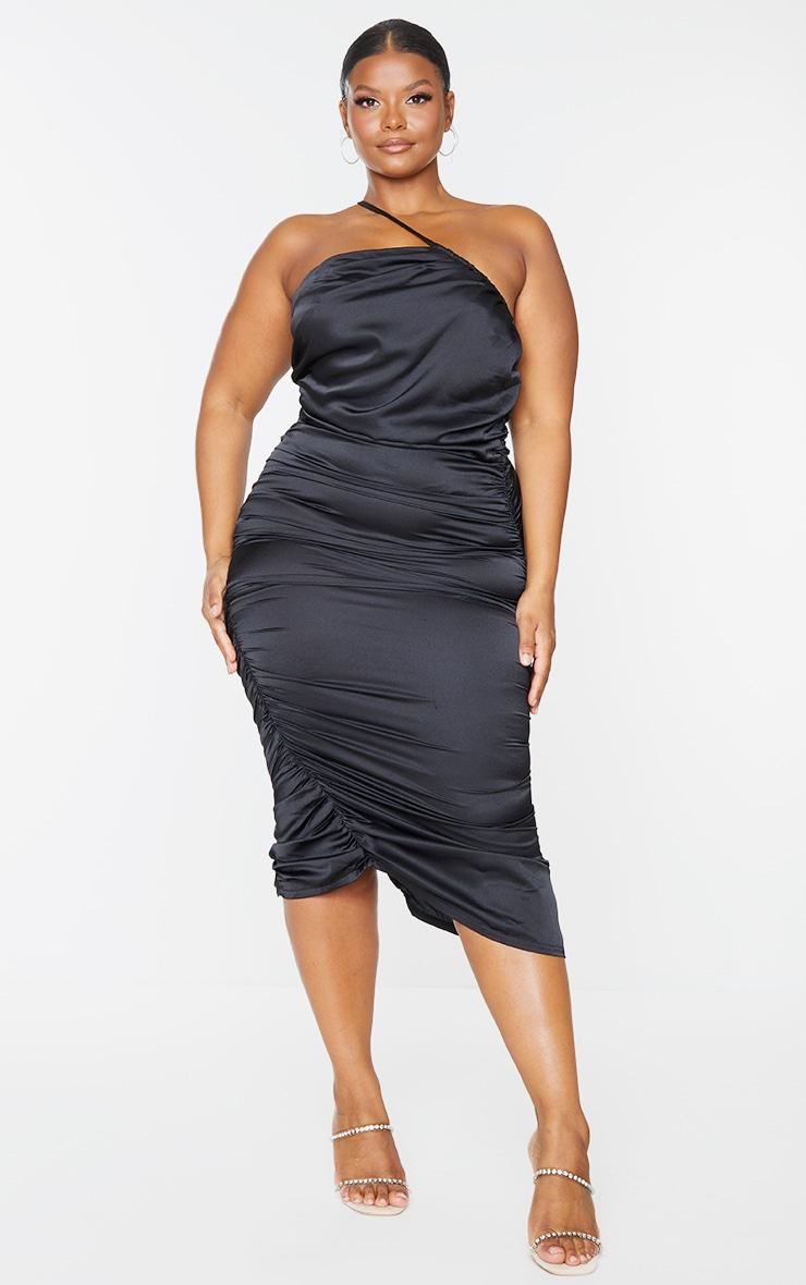 Plus Black Satin One Shoulder Midi Dress 1