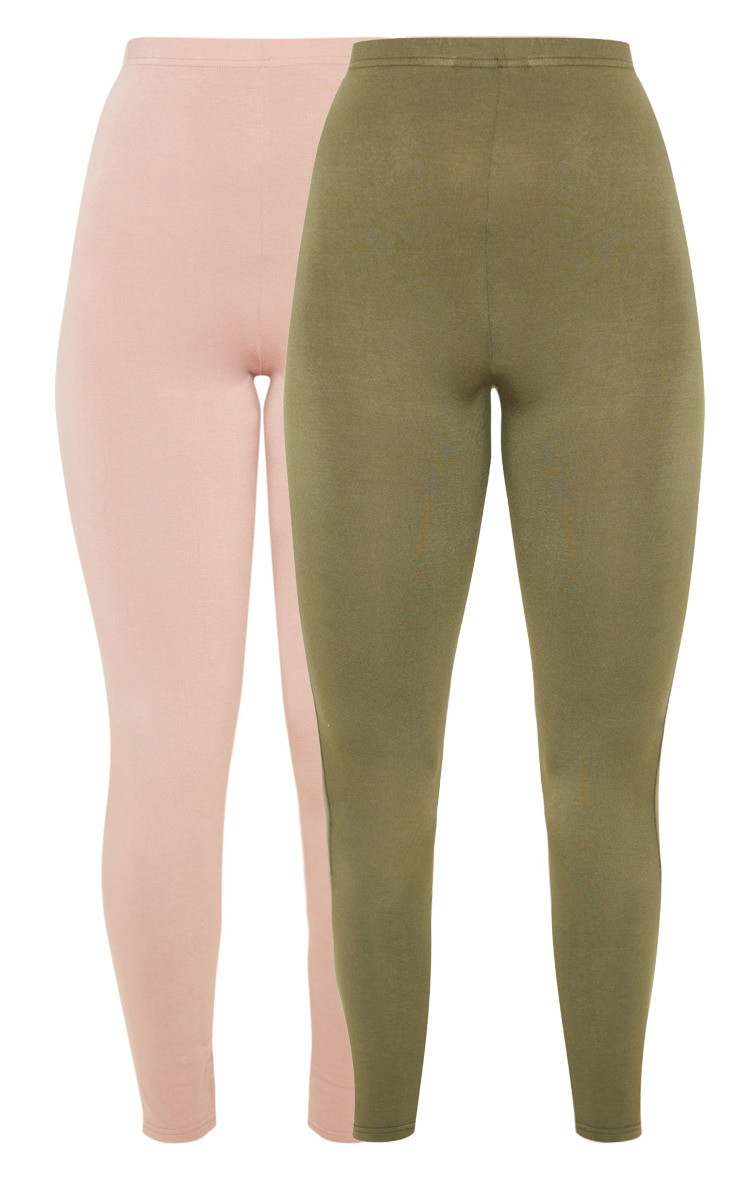 Dusty Rose And Sage Khaki 2 Pack Jersey Leggings 3
