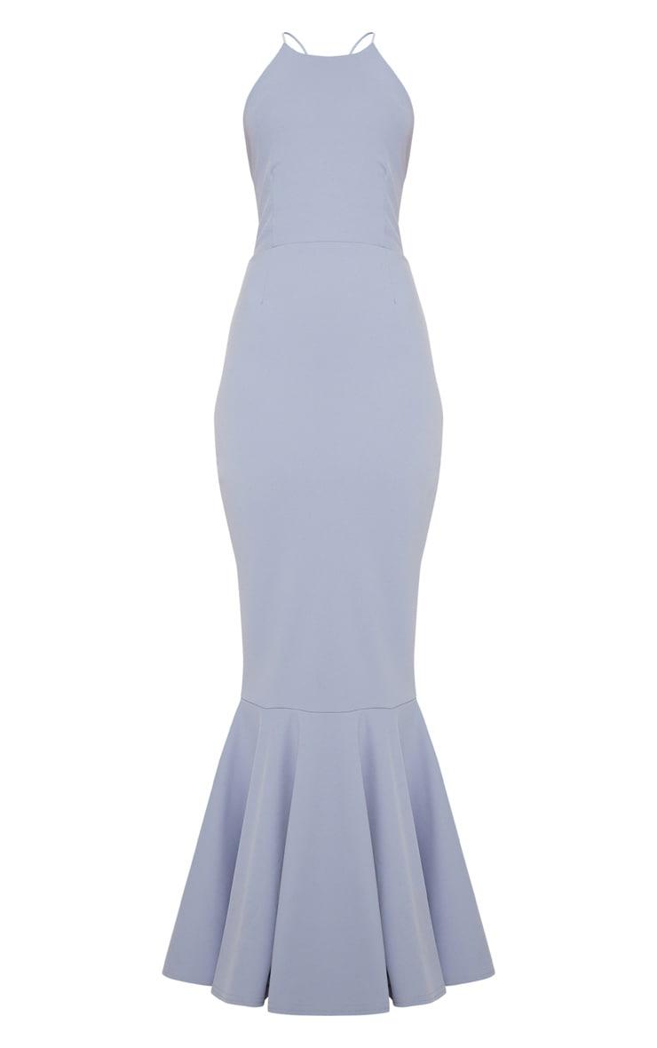 Dusty Blue Cross Back Fishtail Maxi Dress 3