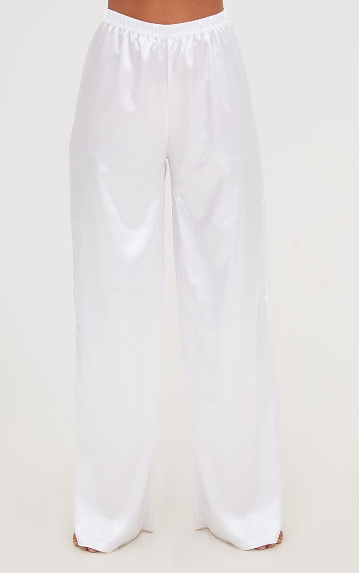 White Satin Long PJ Set 6