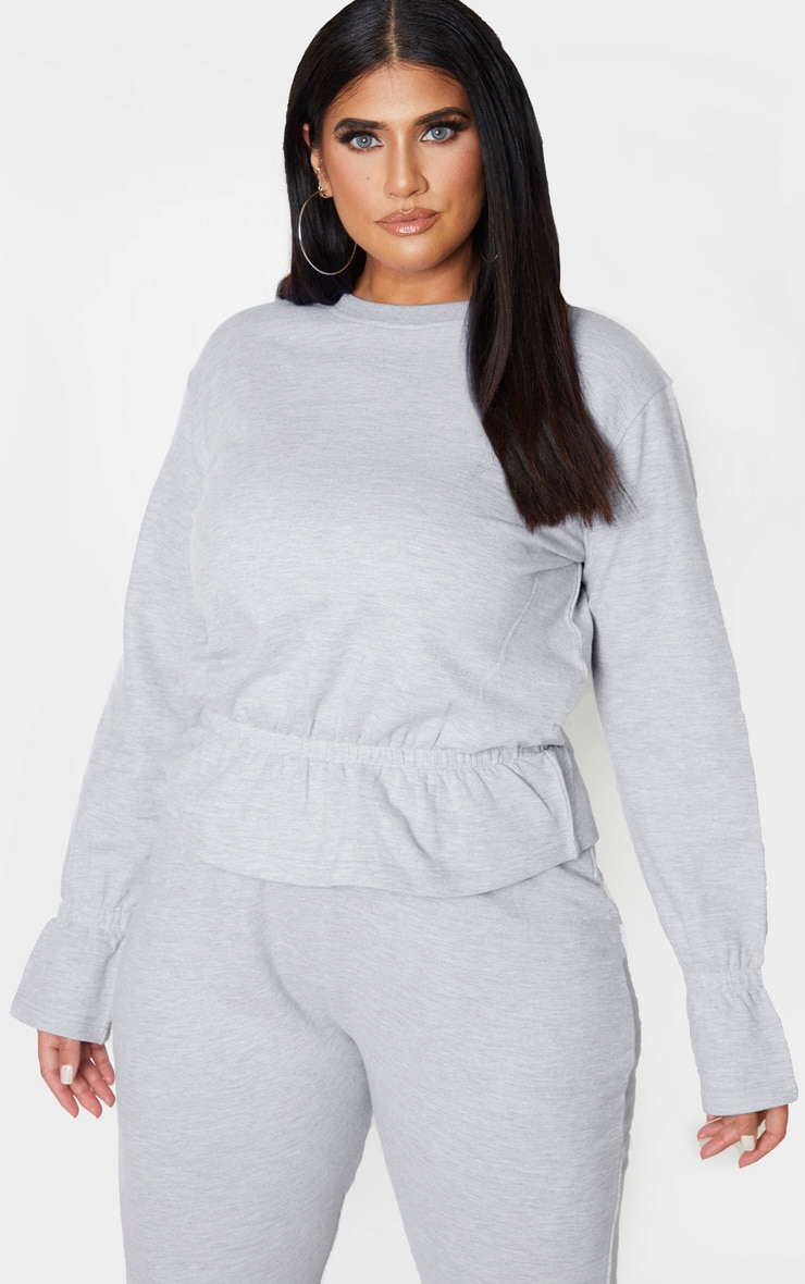 Plus Grey Sweat Elasticated Hem Jumper 1