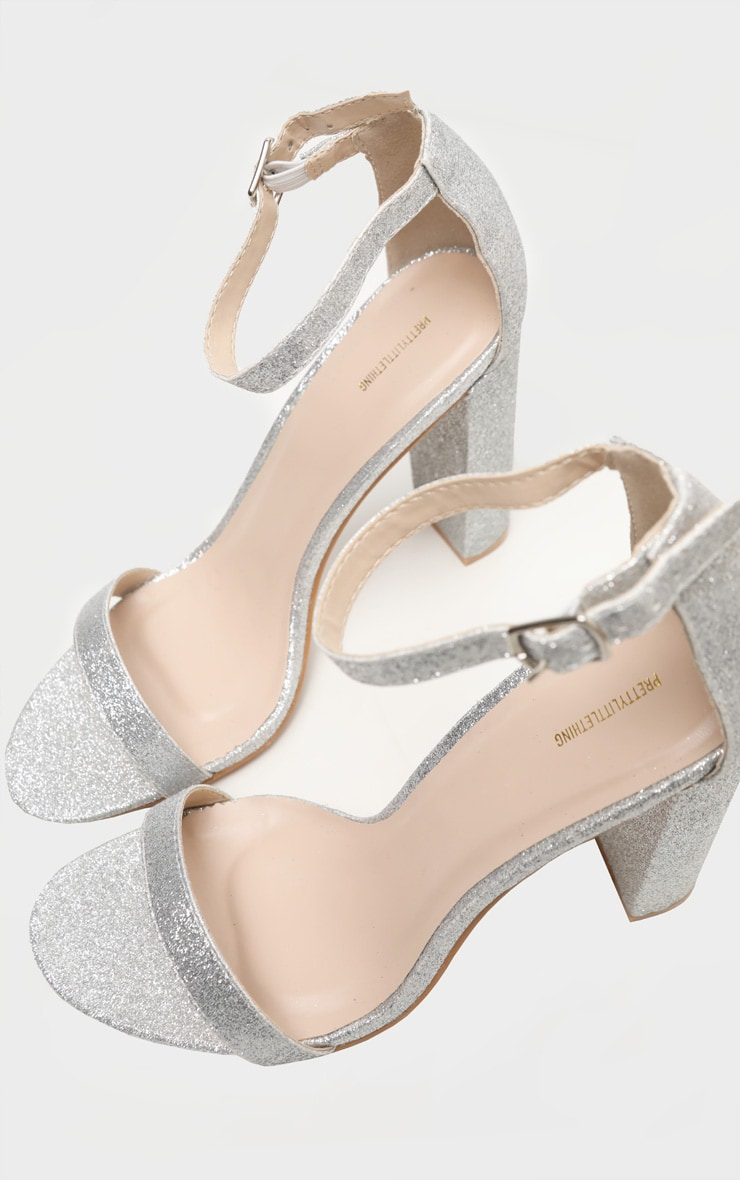 Silver Glitter May Heeled Sandals 4