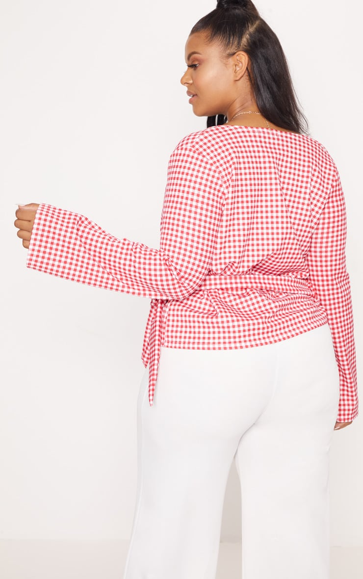 Plus Red Gingham Wrap Top 2