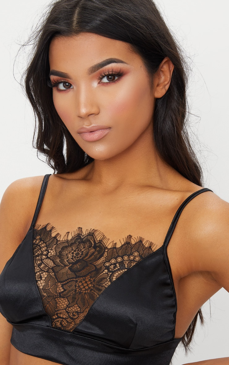 Black Satin Lace Trim Bralet 5