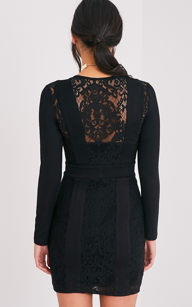 Issie Black Long Sleeve Lace Panel Bodycon Dress 2