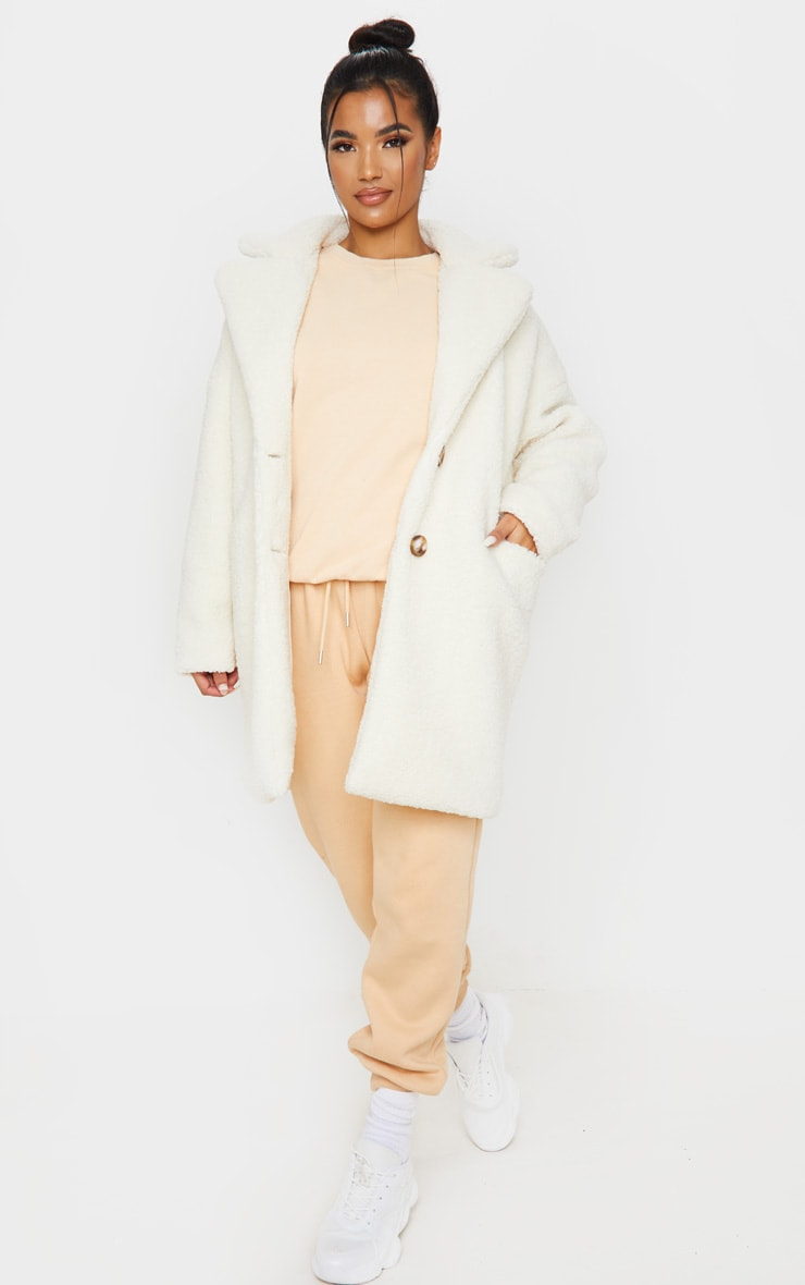 Cream Midi Teddy Borg Coat 4