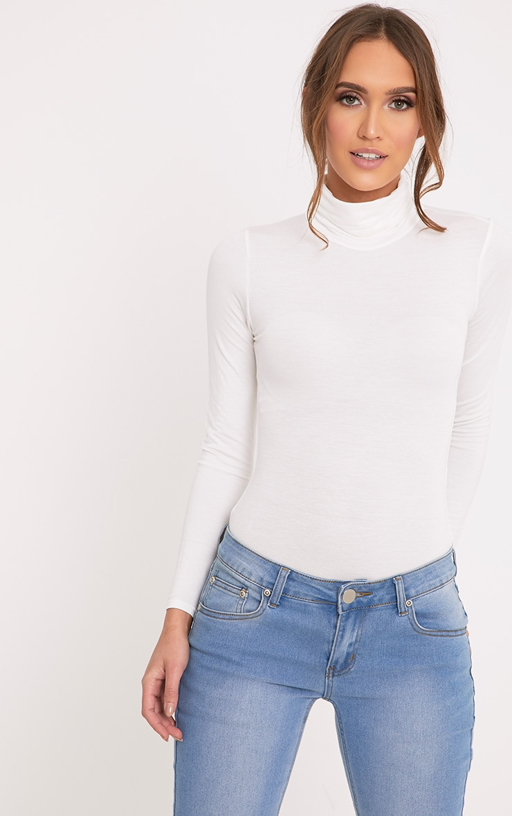 Basic Cream Roll Neck Long Sleeve Bodysuit 1