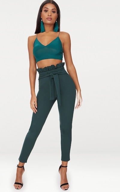 Emerald Green Paperbag Skinny Trousers