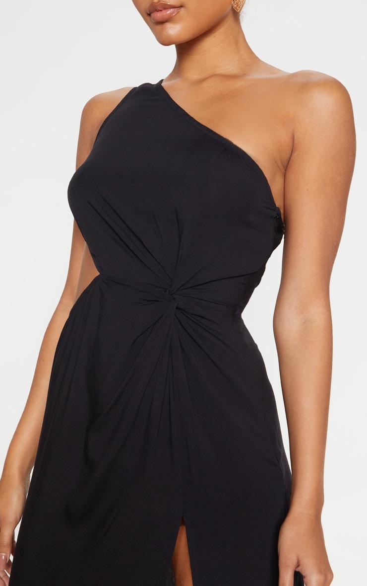 Black One Shoulder Cut Out Knot Detail Split Leg Maxi Dress 5