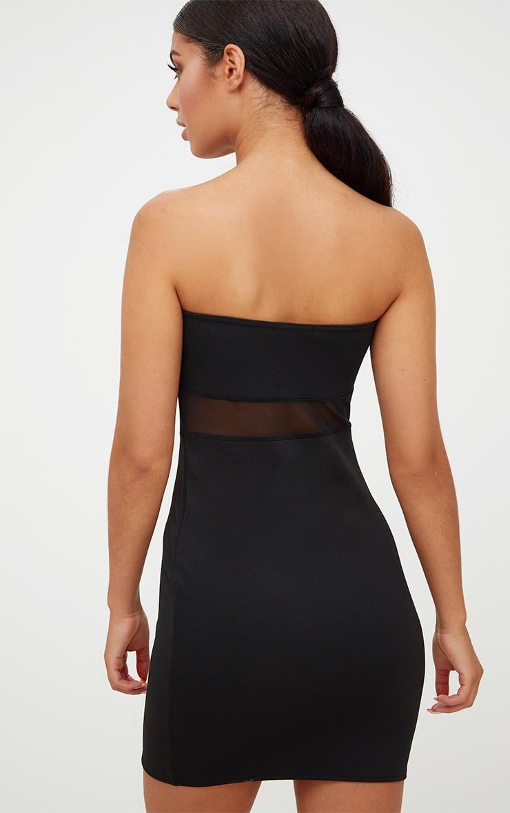 Black Mesh Panel Bodycon Dress 3