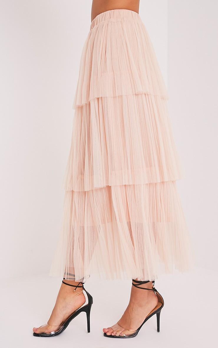 Regina Premium jupe maxi en tulle à volants couleur chair 3
