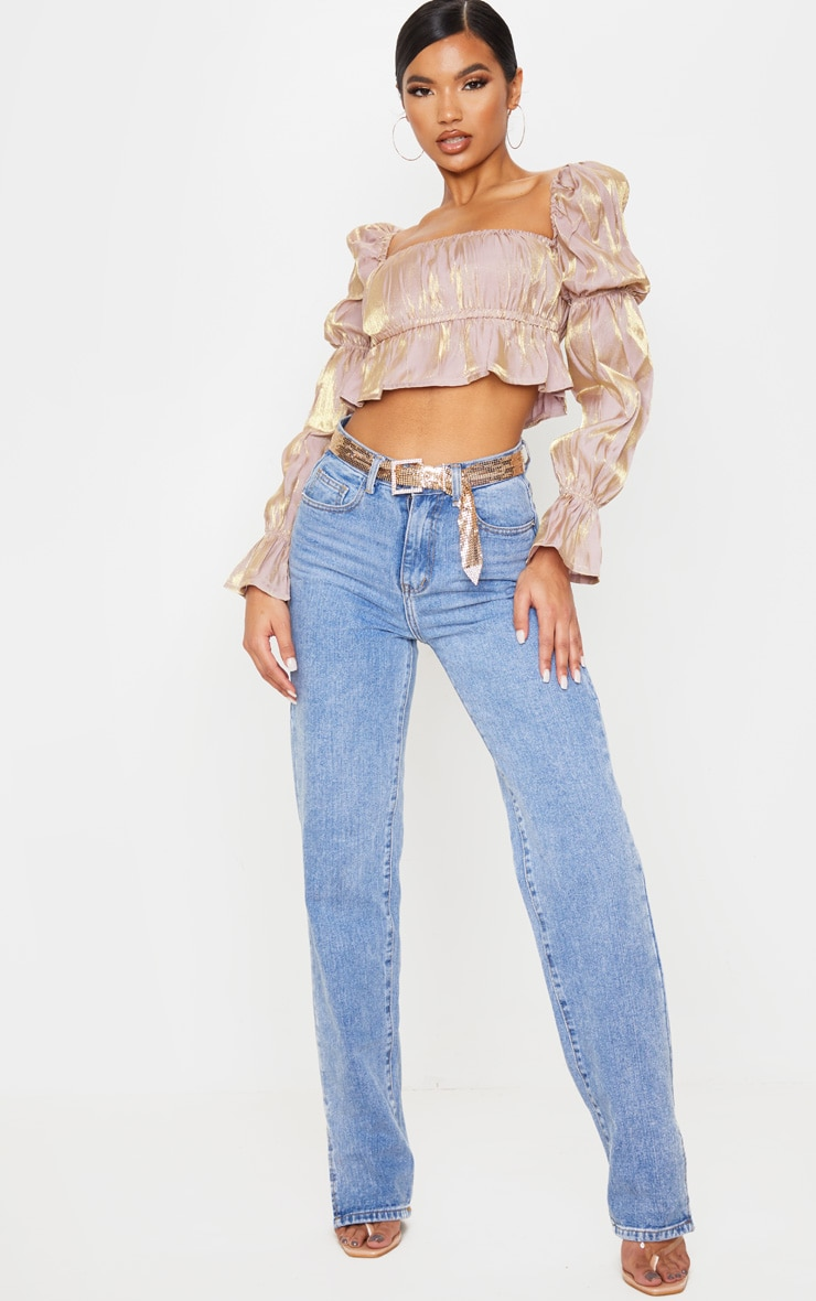 Nude Metallic Ruched Waist Cropped Blouse 4