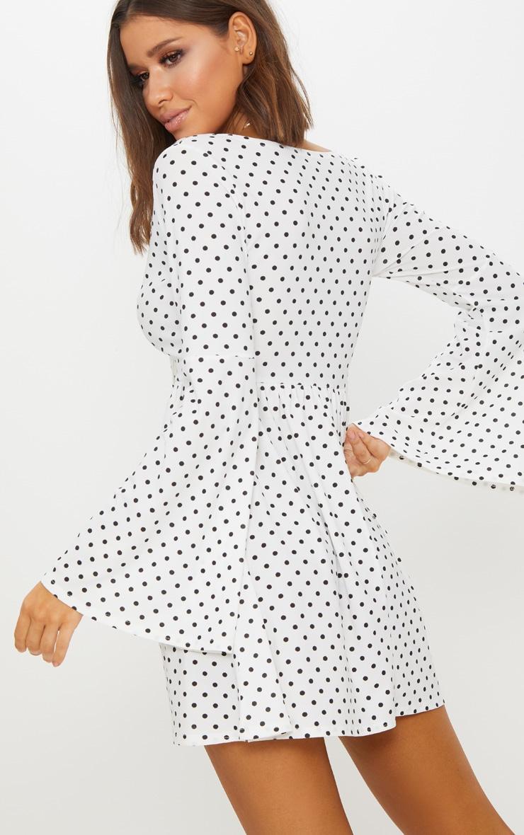 White Polka Dot Fluted Sleeve Tie Detail Tea Dress 2