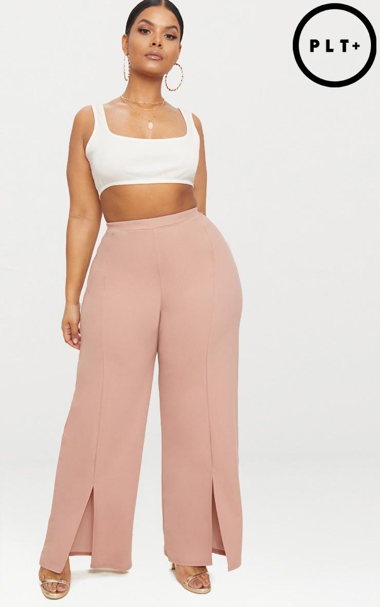 Plus Dusty Pink Split Hem Straight Leg Trousers