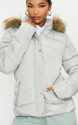 Grey Quilted Mara Faux Fur Hooded Puffer Jacket 4