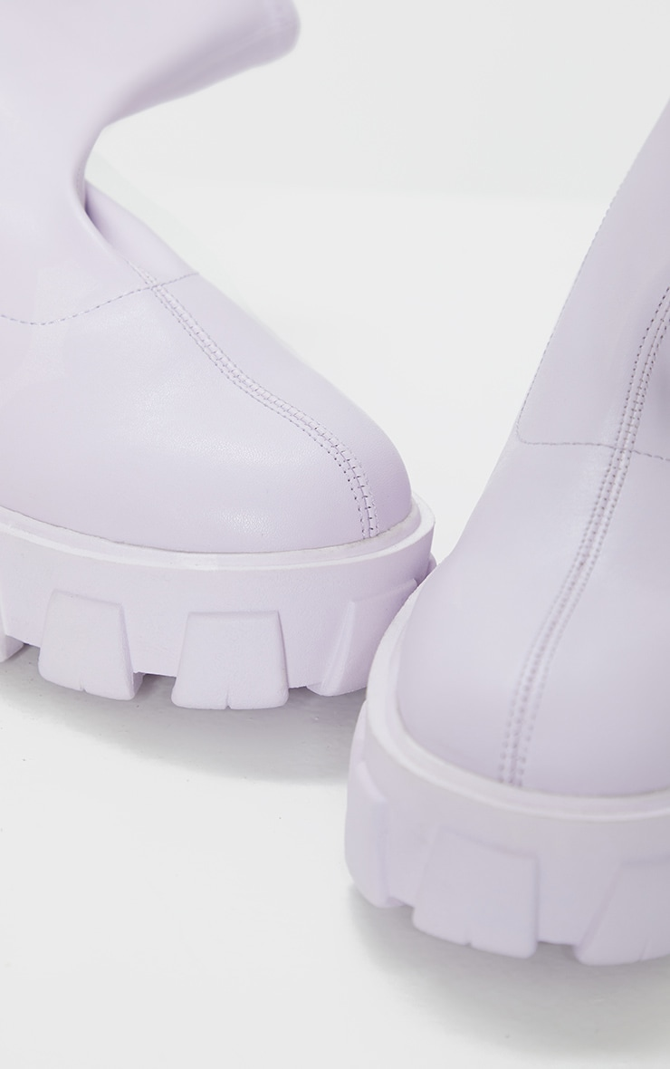 Lilac PU Extreme Chunky Cleat Sole Sock Boots 4