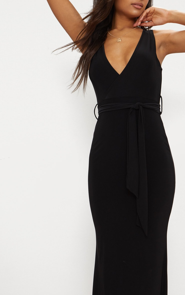 Black Plunge Tie Detail Maxi Dress 4
