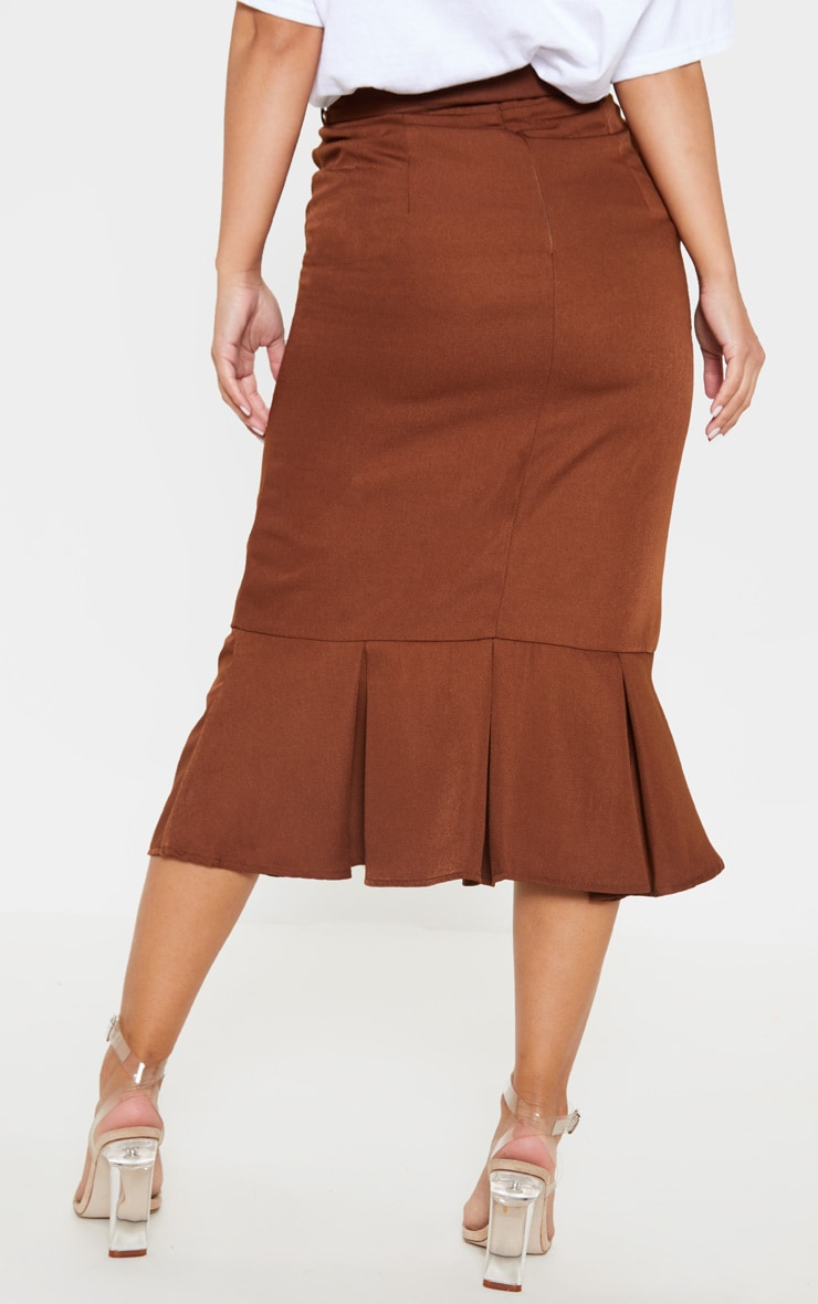 Petite Chocolate Brown Woven Frill Detail Midi Skirt 4