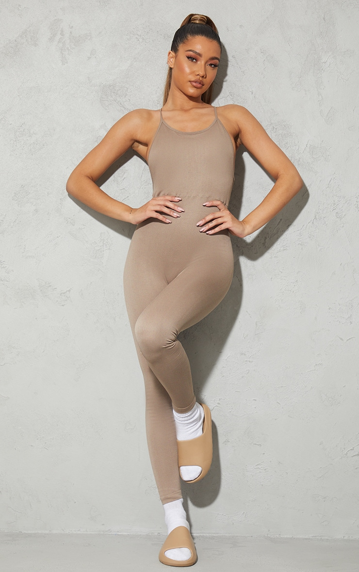 Taupe High Neck Strappy Back Seamless Unitard 2