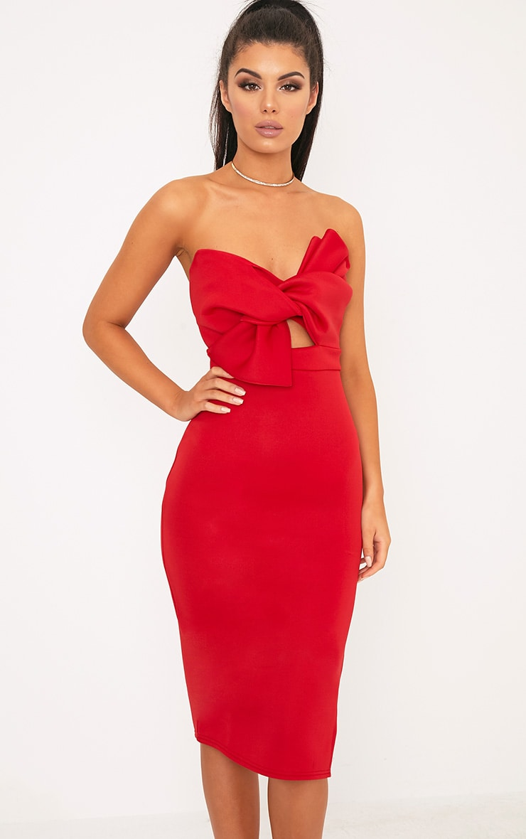 Elisse Red Bow Detail Scuba Midi Dress 4